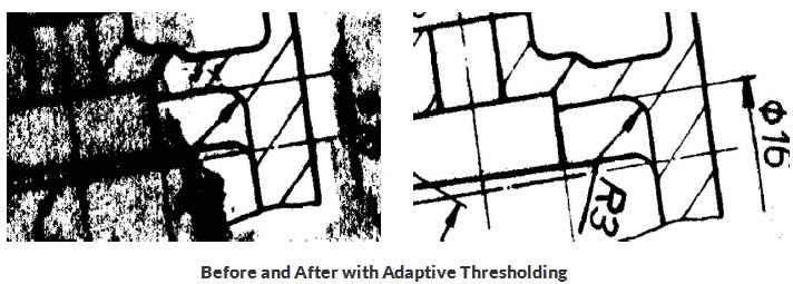 drawing document comparison with adaptive thresholding